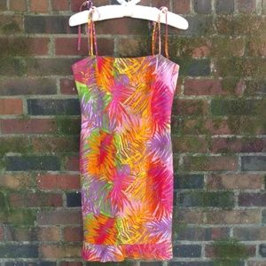 David Meister Palm Print Dress - Bright Colorful